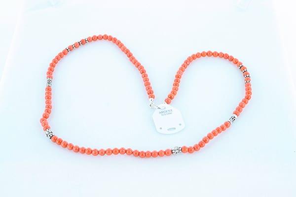 collier en corail rouge véritable de Méditerranée et argent 925 1000 019
