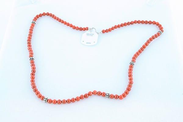 collier en corail rouge véritable de Méditerranée et argent 925 1000 021
