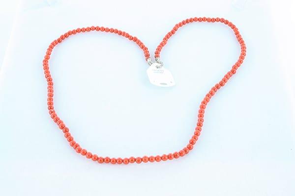 collier en corail rouge véritable de Méditerranée et argent 925 1000 024