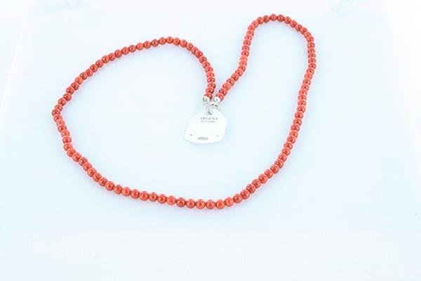 collier en corail rouge véritable de Méditerranée et argent 925 1000 025