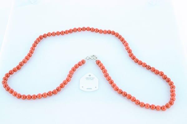 collier en corail rouge véritable de Méditerranée et argent 925 1000 028