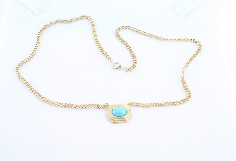 collier en turquoise et plaqué or 014