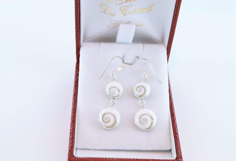 Boucles d'oreilles oeil de sainte lucie et argent 008