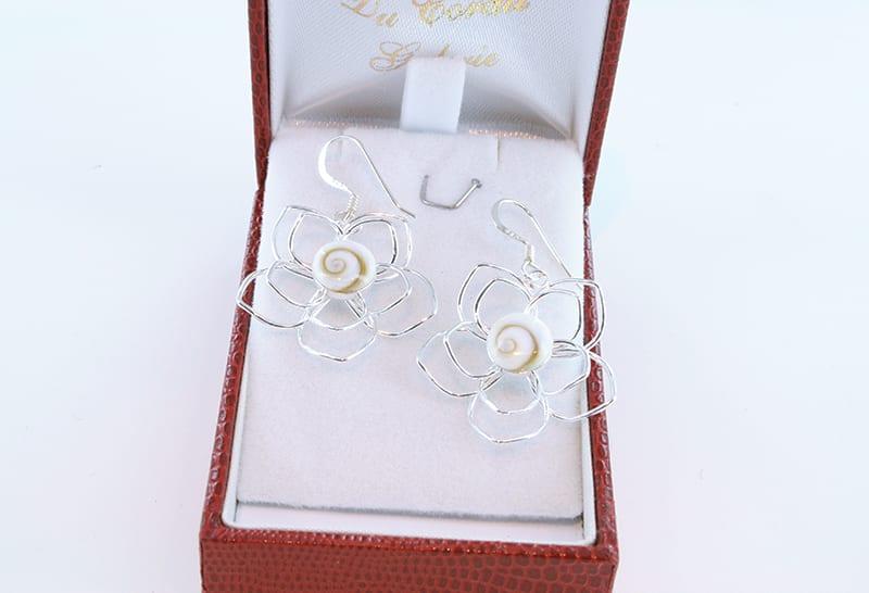 Boucles d'oreilles oeil de sainte lucie et argent 012