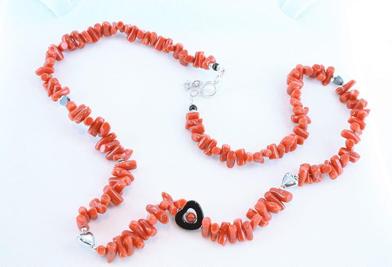 collier corail rouge et argent 031