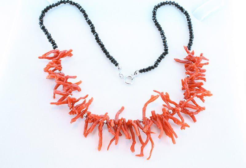 collier corail rouge et argent 035