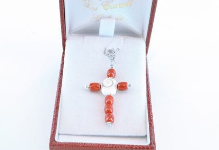 croix en corail rouge et argent 036