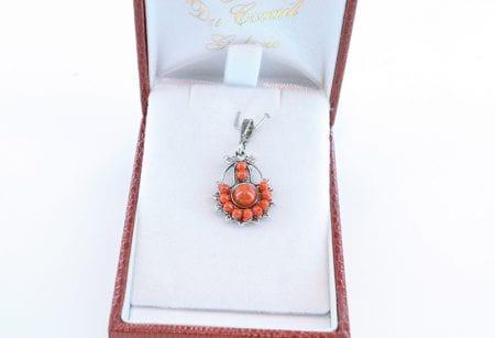 pendentif corail rouge et argent 038