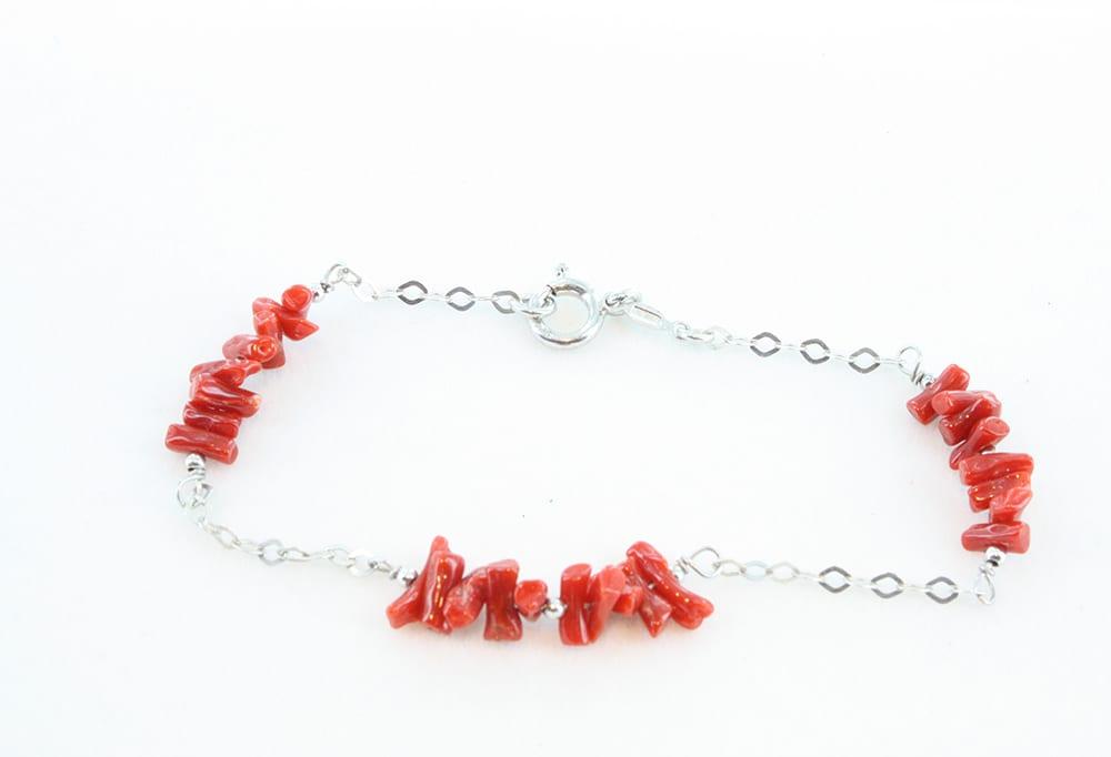 Bracelet en corail rouge 066
