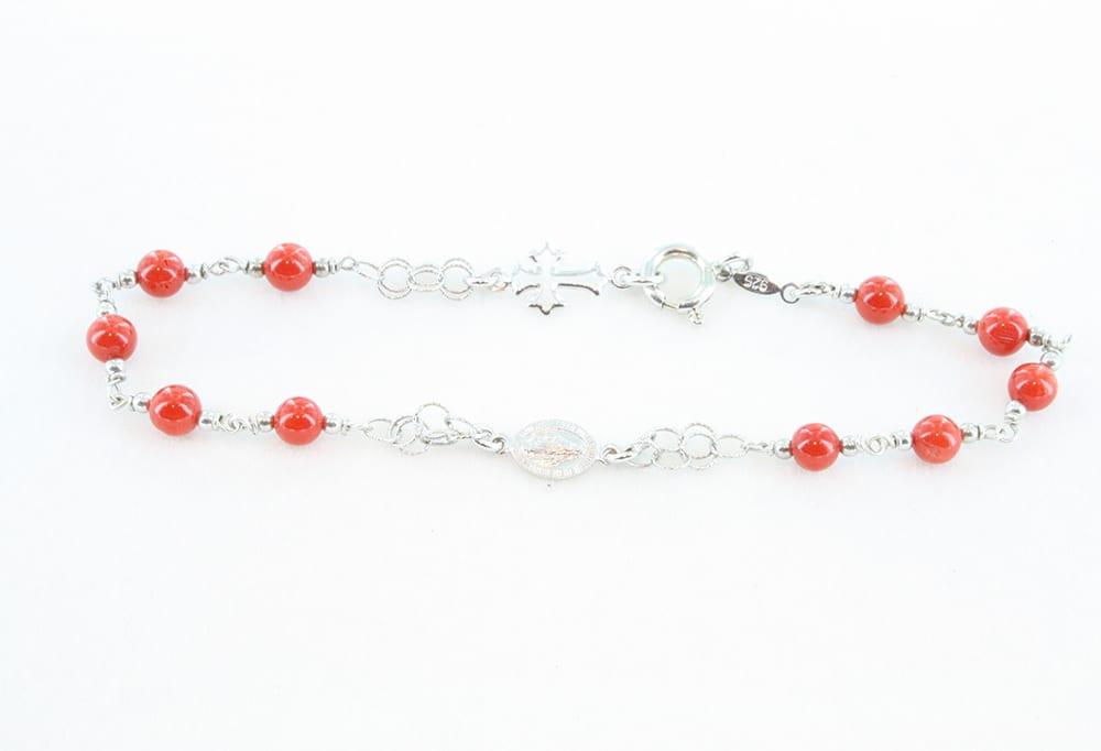 Bracelet en corail rouge et argent 070