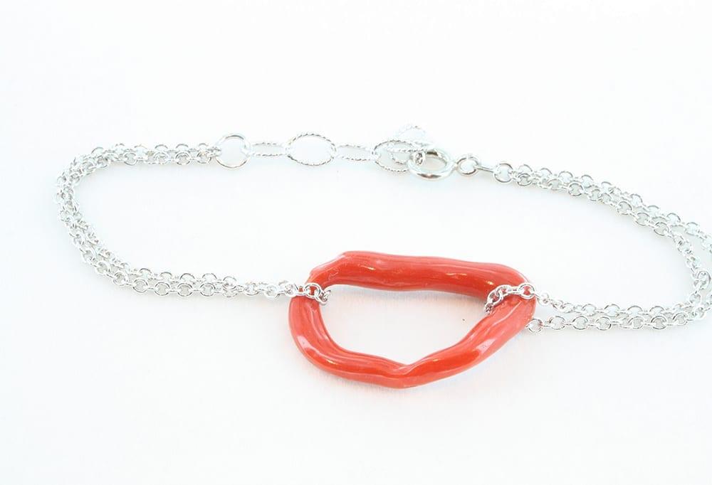 Bracelet en corail rouge et argent 075