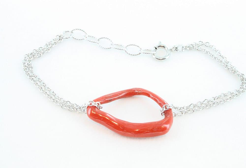 Bracelet corail et argent 076