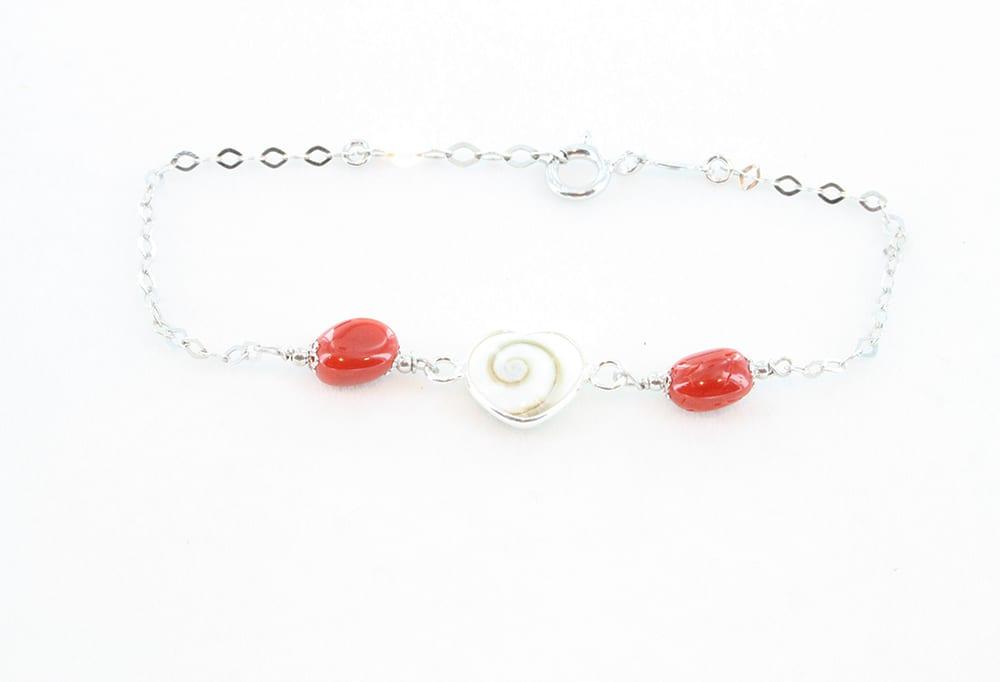 Bracelet en corail rouge et oeil de sainte lucie 079