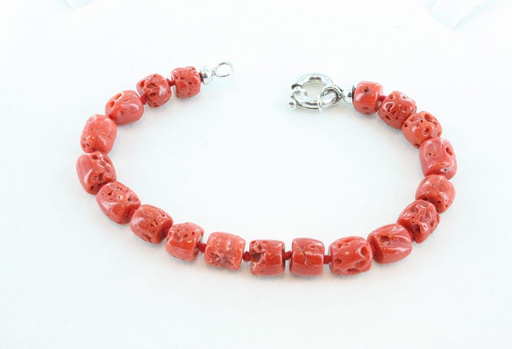 Bracelet corail rouge et argent pour homme 085