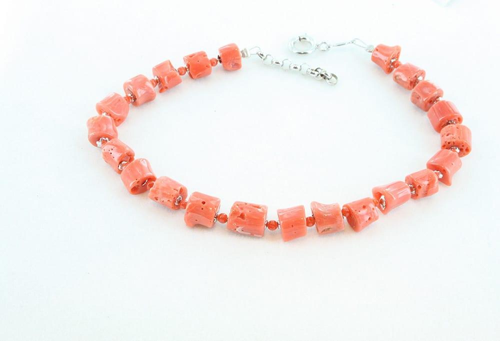 Bracelet corail rouge et argent pour homme 086