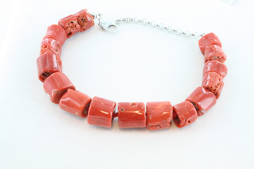bracelet corail rouge argent 088