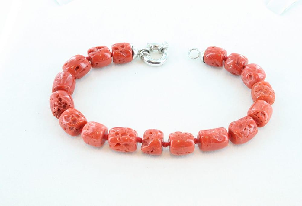 bracelet corail rouge et argent pour homme 089