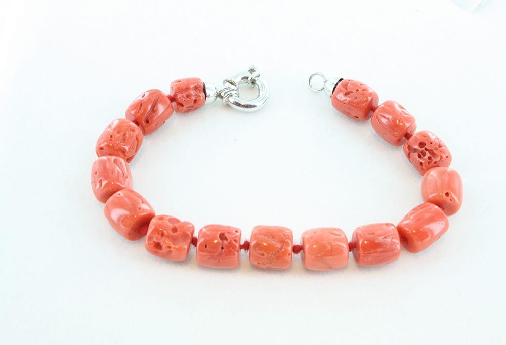 bracelet en corail rouge et argent pour homme 091