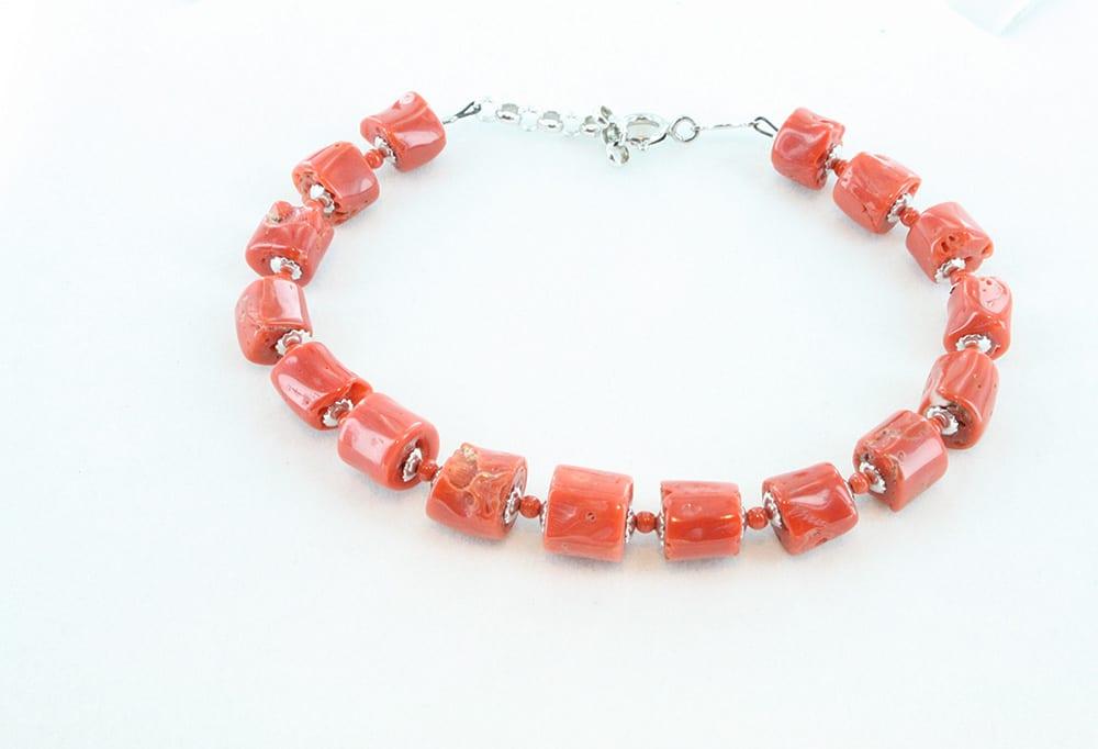 bracelet en corail rouge et argent pour homme 093