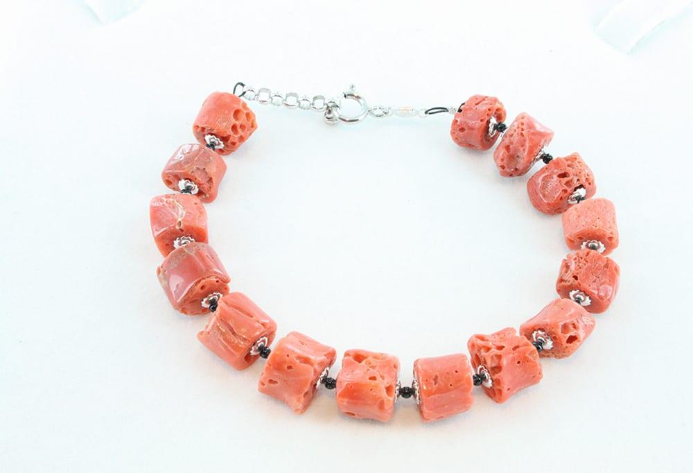 bracelet en corail rouge et argent pour homme 095