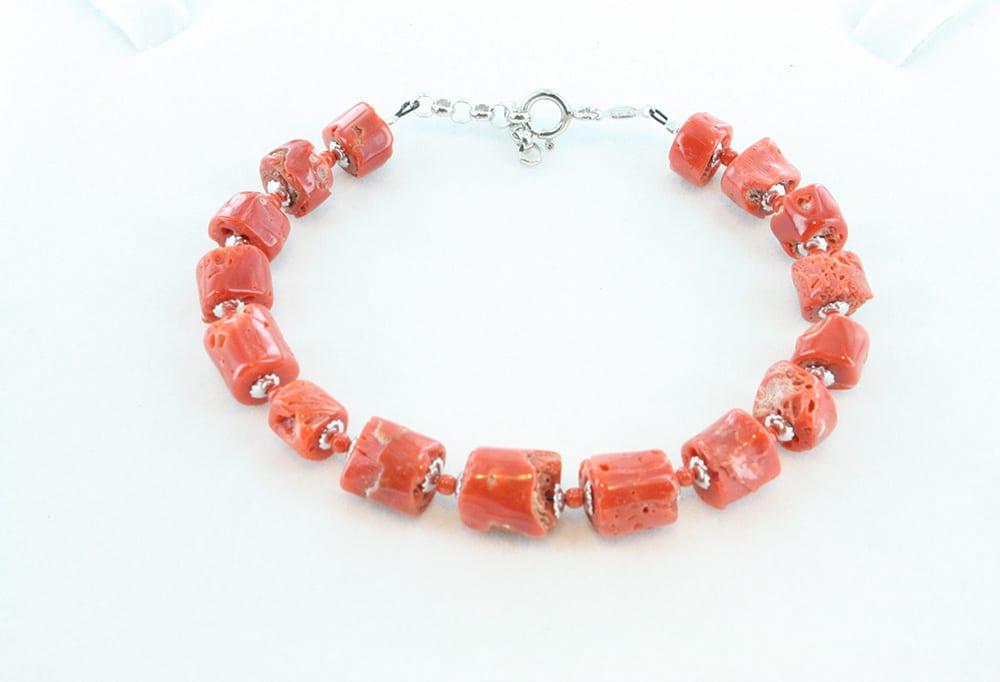 bracelet en corail rouge et argent pour homme 096