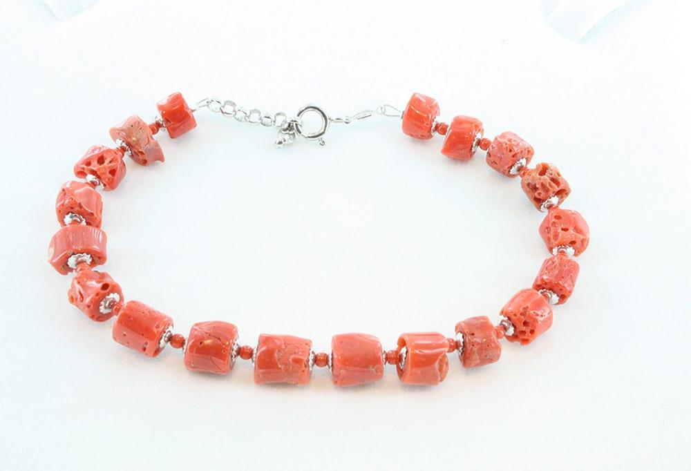 bracelet corail rouge et argent pour homme 098