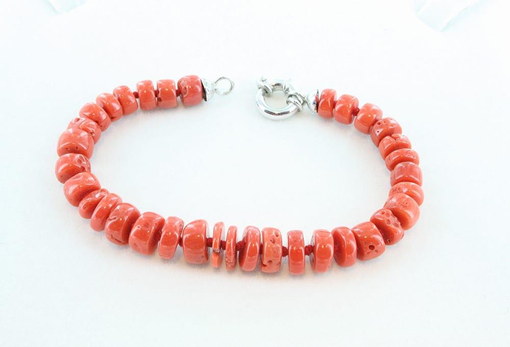 bracelet corail rouge et argent pour homme 099