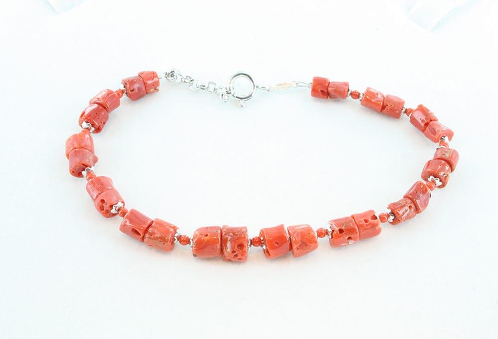 bracelet corail rouge et argent pour homme 100