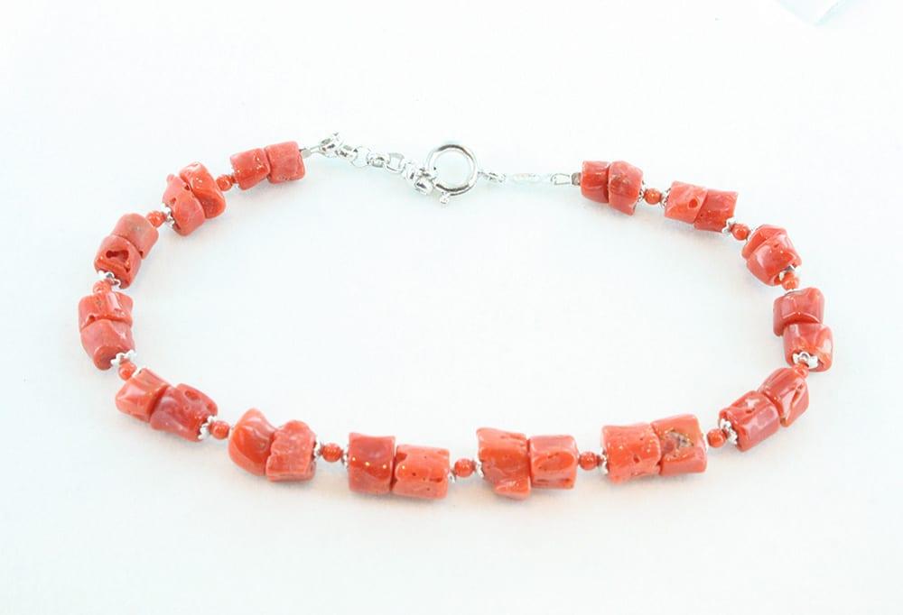 bracelet en corail pour homme et argent 101