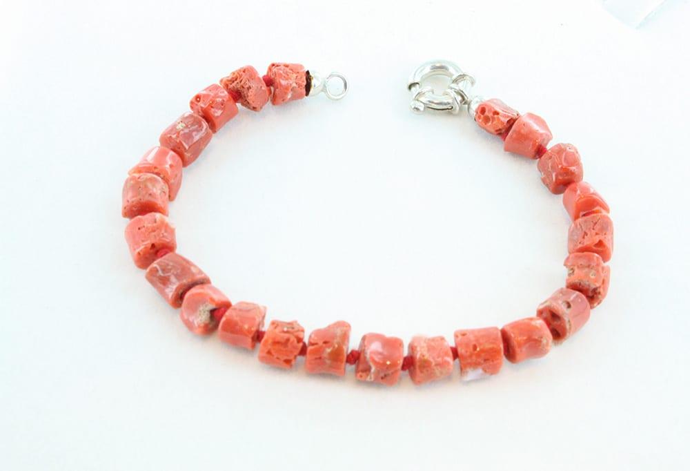 bracelet corail rouge et argent pour homme 103