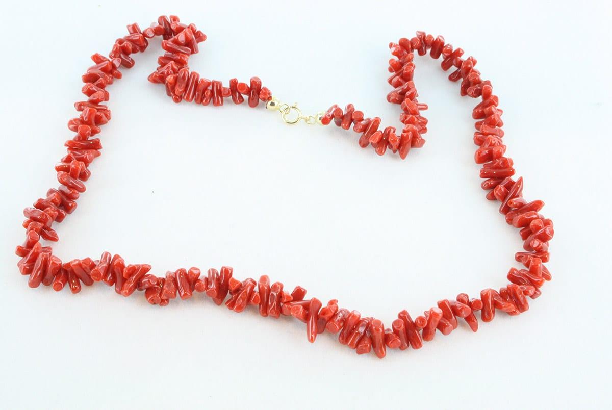 collier en corail rouge de premier choix et or 750 par 1000 CO-CO-OR-008