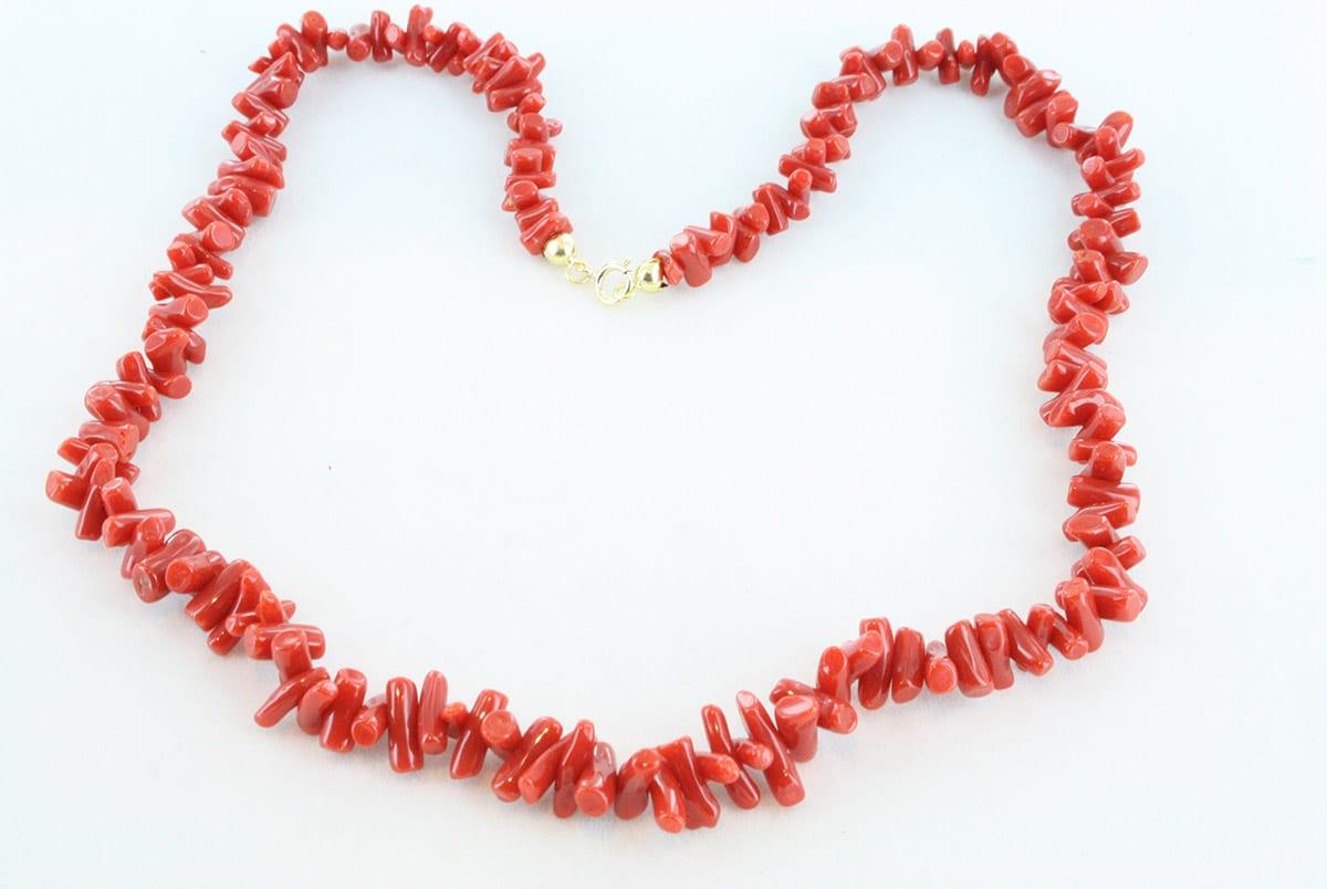 collier en corail rouge de premier choix et or 750 par 1000 CO-CO-OR-009