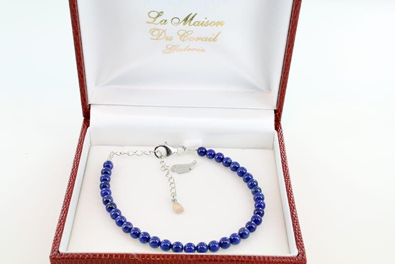 Bracelet en lapis lazuli et argent grade A 009