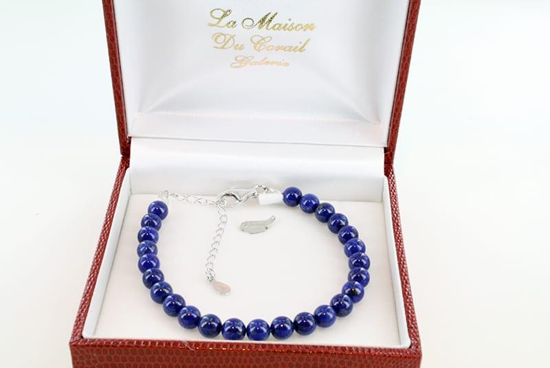 Bracelet en Lapis Lazuli et Argent Grade A<br> BR-LA-LA-AR-010