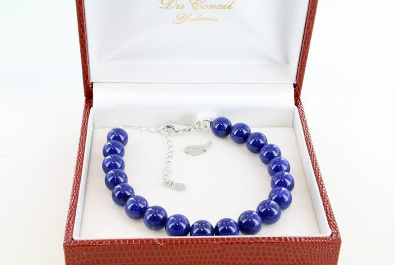 Bracelet en lapis lazuli et argent grade A 011