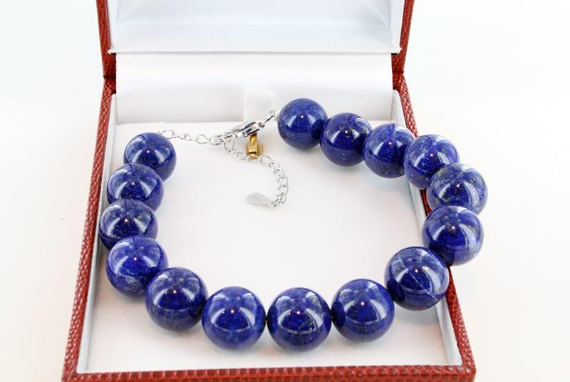 Bracelet en lapis lazuli et argent grade A 013