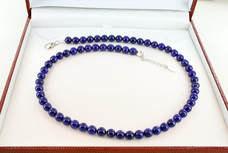 Collier en Lapis Lazuli et Argent Grade A<br> CO-LA-LA-AR-002