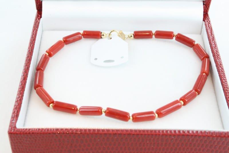 Bracelet en corail de premier choix et or BR-CO-OR-016