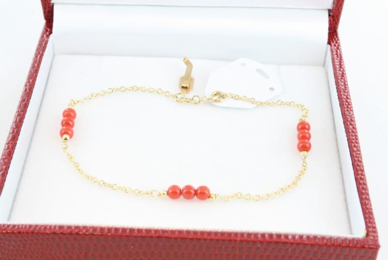Bracelet en corail de premier choix et or BR-CO-OR-022