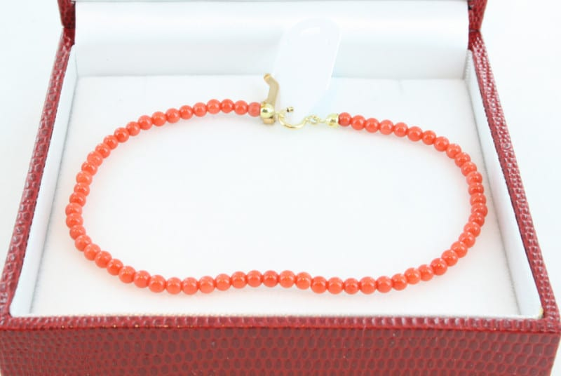Bracelet en corail de premier choix et or BR-CO-OR-023
