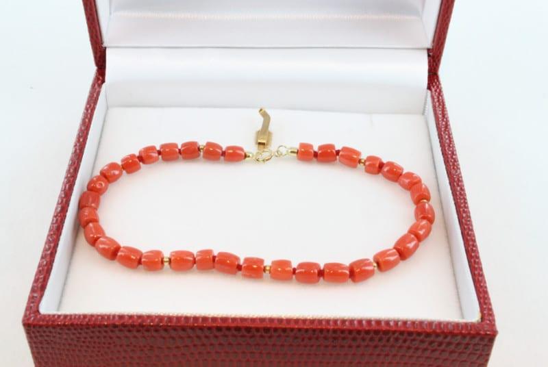 Bracelet en corail de premier choix et or BR-CO-OR-026