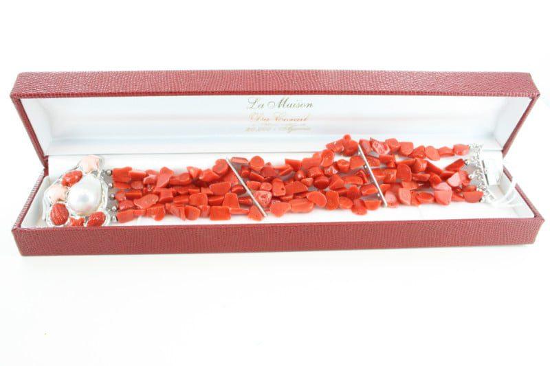 Bracelet en corail rouge et argent BR-CO-AR-104
