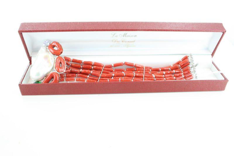 Bracelet en corail rouge et argent BR-CO-AR-105