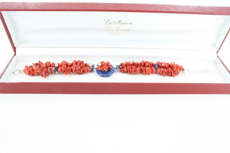 Bracelet en corail rouge et argent BR-CO-AR-109
