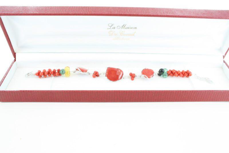 Bracelet en corail rouge et argent BR-CO-AR-110