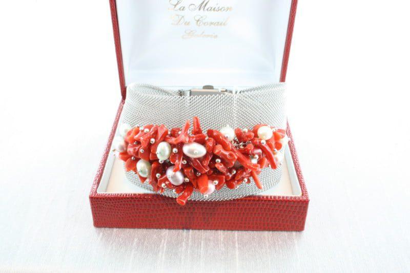 Bracelet en corail rouge et argent BR-CO-AR-112