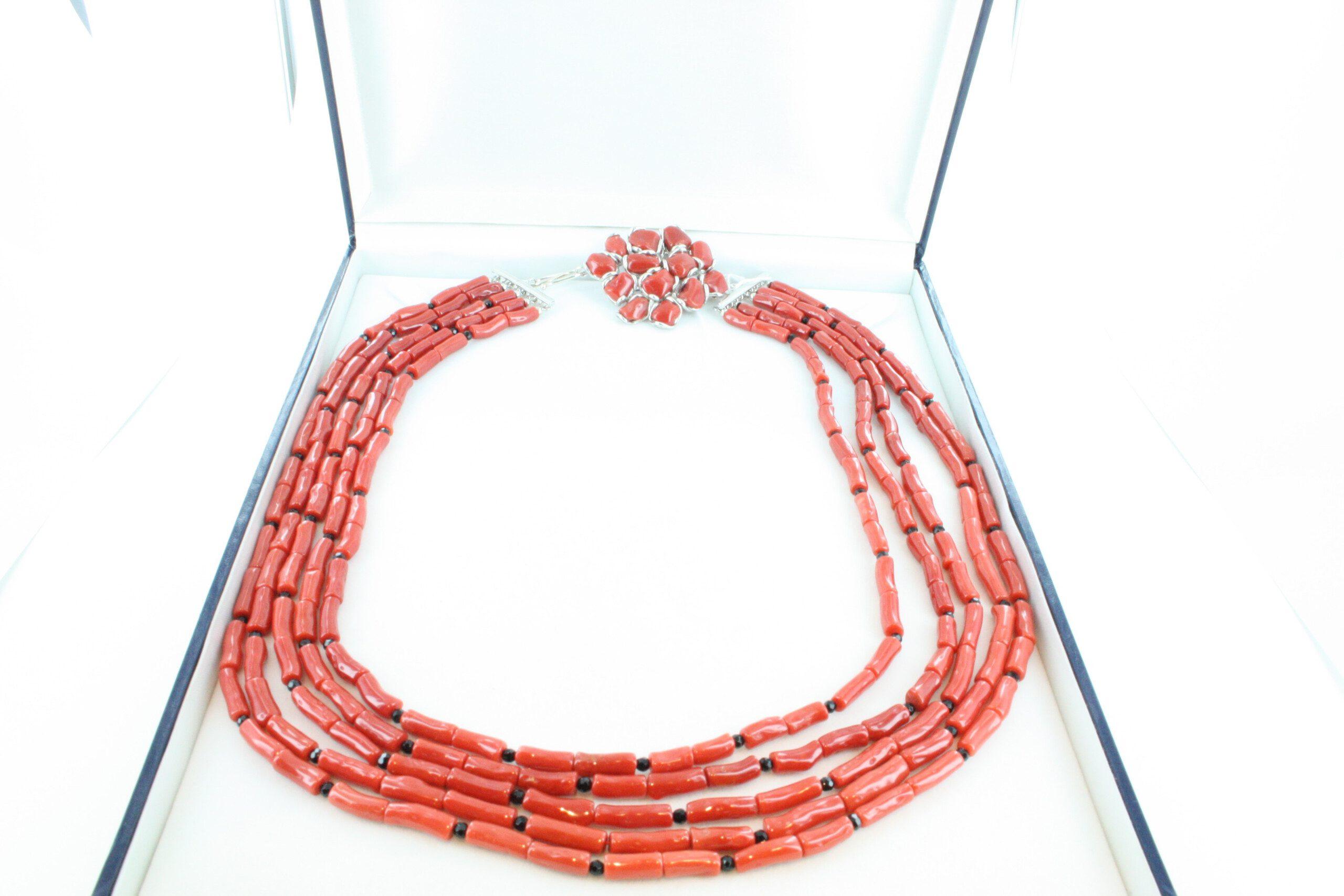 Collier en corail rouge et argent CO-CO-AR-045