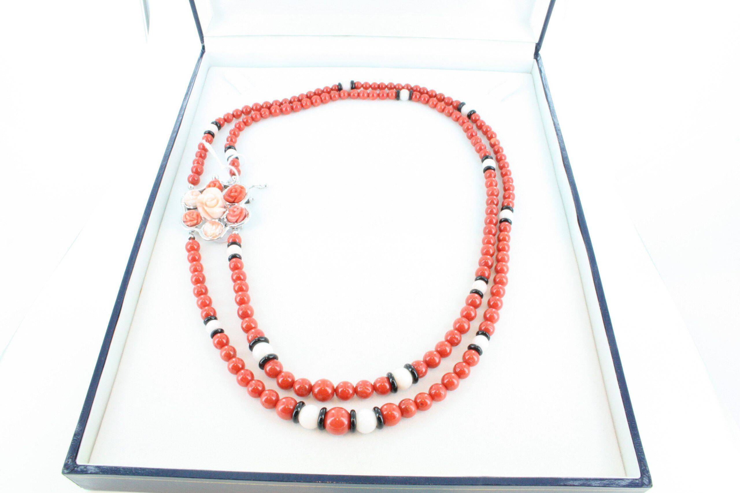 Collier en corail rouge et argent CO-CO-AR-047