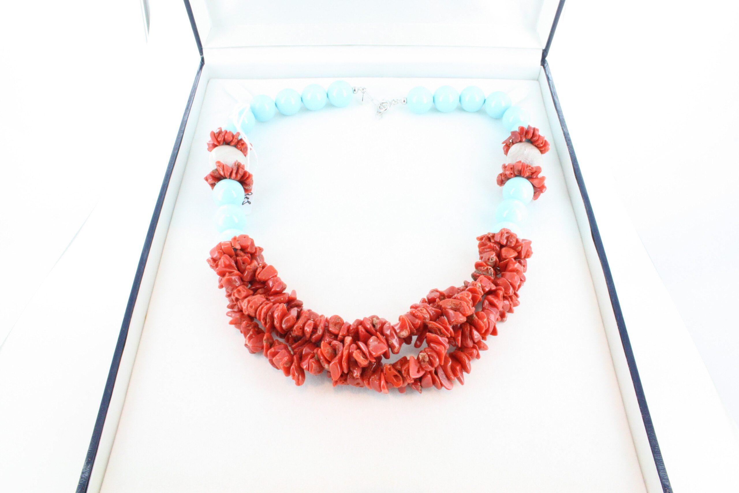 Collier en corail rouge et argent CO-CO-AR-049