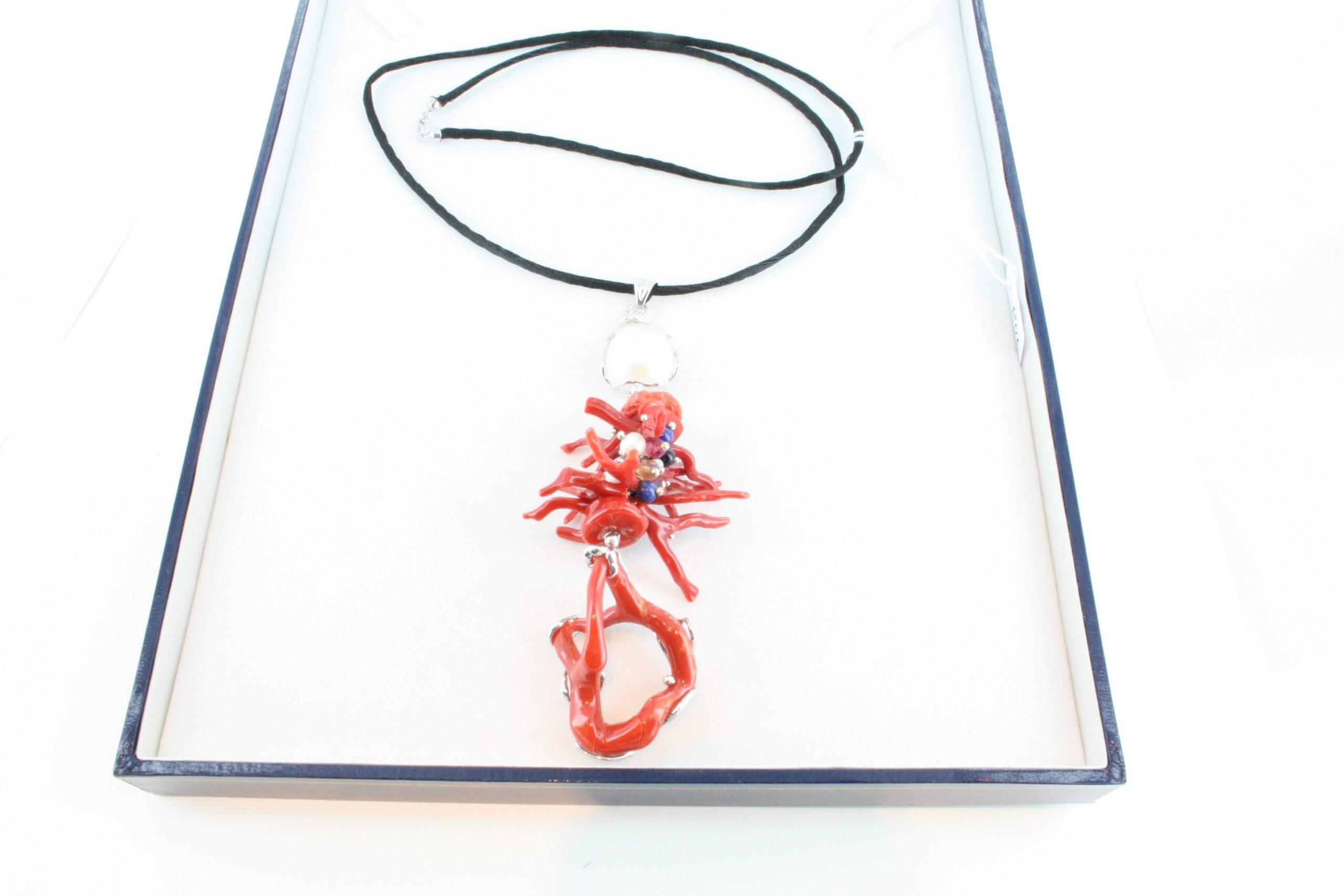 Collier en corail rouge et argent CO-CO-AR-051